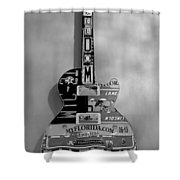 American Guitar In Black And White Shower Curtain