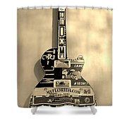 American Guitar In Sepia Shower Curtain