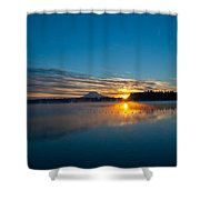 American Lake Sunrise Shower Curtain