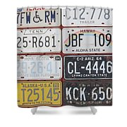 American License Plates Shower Curtain
