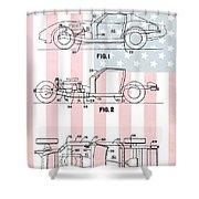 American Made Corvette Patent Shower Curtain