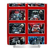 American Muscle Red Poster Shower Curtain