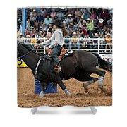 American Rodeo Female Barrel Racer Dark Horse I Shower Curtain by Sally Rockefeller