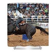 American Rodeo Female Barrel Racer Dark Horse II Shower Curtain
