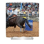 American Rodeo Female Barrel Racer Dark Horse IIi Shower Curtain by Sally Rockefeller