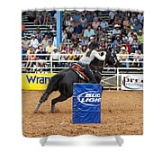 American Rodeo Female Barrel Racer Dark Horse Iv Shower Curtain