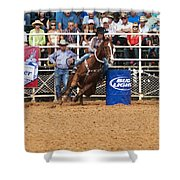 American Rodeo Female Barrel Racer White Blaze Chestnut Horse Iv Shower Curtain by Sally Rockefeller