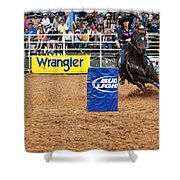 American Rodeo Female Barrel Racer White Star Horse I Shower Curtain by Sally Rockefeller