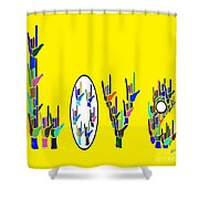American Sign Language Love Hands Shower Curtain