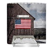 Americana Patriotic Barn Shower Curtain by Edward Fielding
