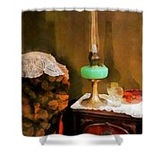 Americana - Still Life With Hurricane Lamp Shower Curtain