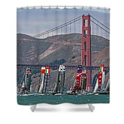 Americas Cup Catamarans At The Golden Gate Shower Curtain