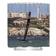 Americas Cup Oracle Team And Alcatraz Shower Curtain