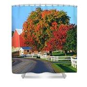 Amish Barn In Autumn Shower Curtain