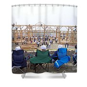 Amish Barn Raising Shower Curtain