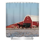 Amish Buggy And Red Barn Shower Curtain