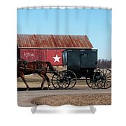 Amish Buggy And Star Barn Shower Curtain