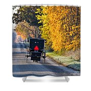 Amish Buggy And Yellow Leaves Shower Curtain