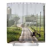 Amish Buggy Confronts The Modern World Shower Curtain