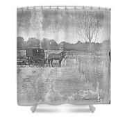 Amish Buggy In Old Book Shower Curtain