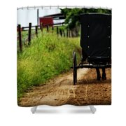 Amish Buggy On Dirt Road Shower Curtain