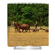 Amish Farmer Tilling The Fields Shower Curtain