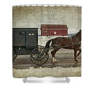 Amish Horse And Buggy And The Star Barn Shower Curtain