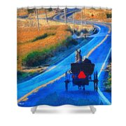 Amish Horse And Buggy In Autumn Shower Curtain