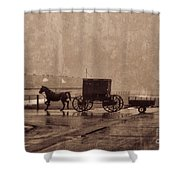Amish Horse And Buggy With Wagon Bw Shower Curtain