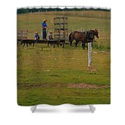 Amish Man And Two Sons On The Farm Shower Curtain