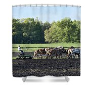 Amish Plowing Field Shower Curtain