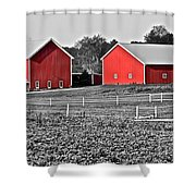 Amish Red Barn And Farm Shower Curtain