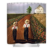 Amish Road Shower Curtain by Linda Simon