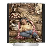 Among Mother's Baskets Shower Curtain