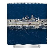 Amphibious Assault Ship Uss Bonhomme Shower Curtain