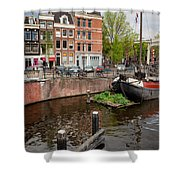 Amstel River Waterfront In Amsterdam Shower Curtain