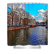 Amsterdam Canal In Spring Shower Curtain