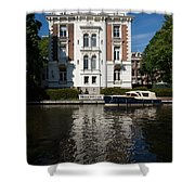 Amsterdam Canal Mansions - Bright White Symmetry  Shower Curtain