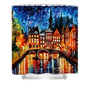 Amsterdam-canal - Palette Knife Oil Painting On Canvas By Leonid Afremov Shower Curtain