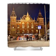 Amsterdam Central Station And Metro Entrance Shower Curtain