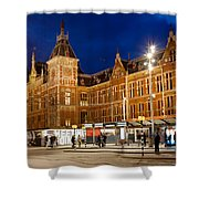 Amsterdam Central Station And Tram Stop At Night Shower Curtain