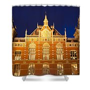Amsterdam Central Train Station At Night Shower Curtain