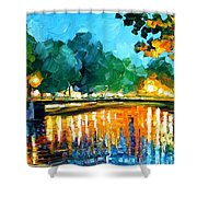Amsterdam-early Morning - Palette Knife Oil Painting On Canvas By Leonid Afremov Shower Curtain