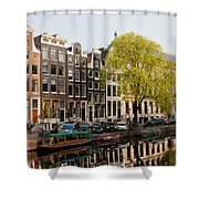 Amsterdam Houses Along The Singel Canal Shower Curtain