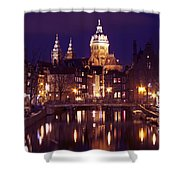 Amsterdam In The Netherlands By Night Shower Curtain