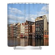 Amsterdam Old Town At Sunset Shower Curtain