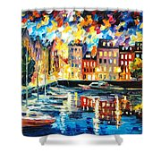 Amsterdam's Harbor - Palette Knife Oil Painting On Canvas By Leonid Afremov Shower Curtain