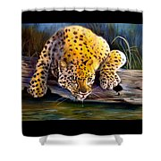 Amur Leopard  Spotted Something Shower Curtain