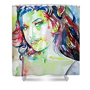 Amy Winehouse Watercolor Portrait.1 Shower Curtain