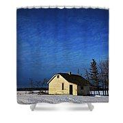 An Abandoned Homestead On A Snow Shower Curtain by Steve Nagy